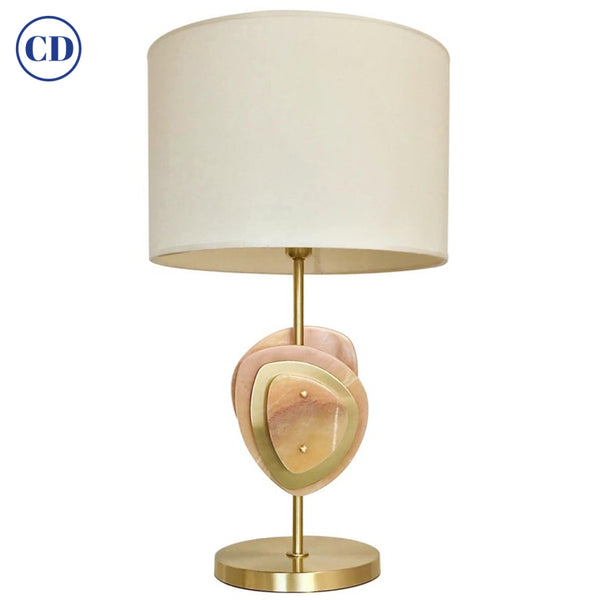 Bespoke Italian Organic Modern Amber Onyx Satin Brass Satellite Table Lamp