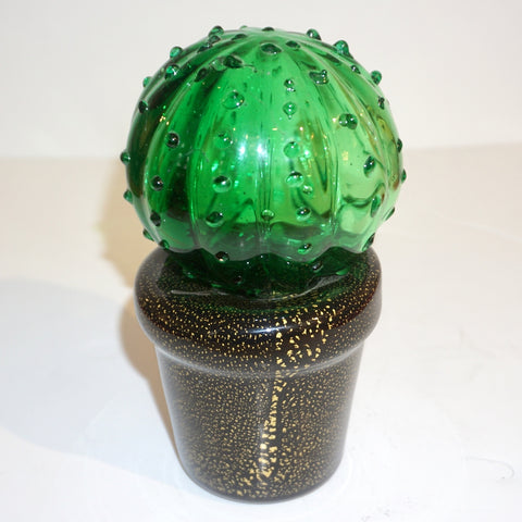 1990s Vintage Italian Green Murano Glass Small Cactus Plant in Black & Gold Pot