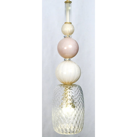 Contemporary Bespoke Italian Crystal Pink Gold Cream Murano Glass Pendant Light
