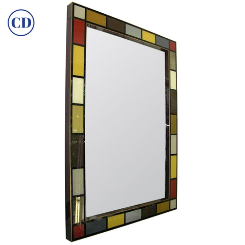 Bespoke Italian Mondrian Decor Red Yellow Gray Taupe Black White Glass Mirror