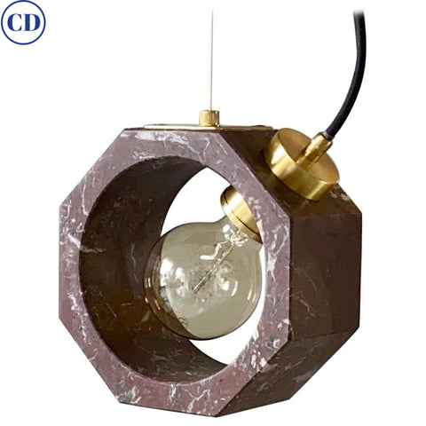 Contemporary Matlight Italian Essential Octagon Minimalist Red Marble Pendant