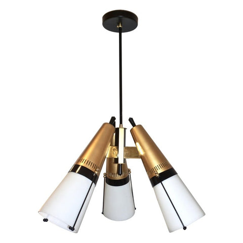 Torlasco 1950s Italian Vintage Brass Black White Three-Light Cone Chandelier