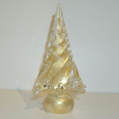 Cenedese 1980s Italian Modern 24K Gold Dust Twisted Murano Glass Tree Sculpture