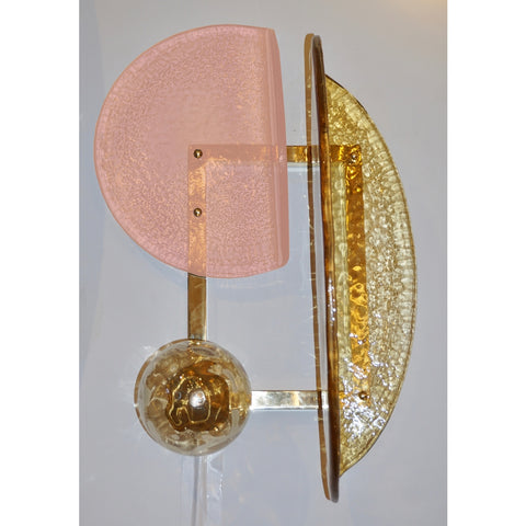 Contemporary Italian Pair of Pink and Amber Murano Glass Gold Brass Sconces