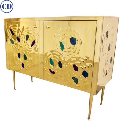 Italian Contemporary Design 2-Door Brass Cabinet with Blue Green Purple Agate