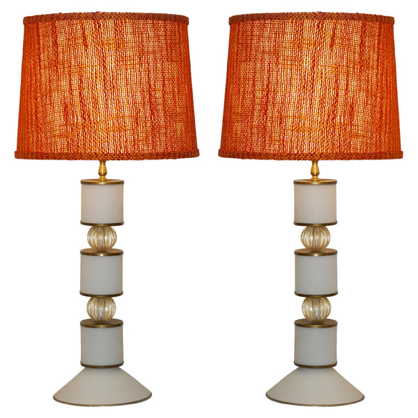 Albarelli 1960 Tall Pair of White and Gold Murano Glass Lamps