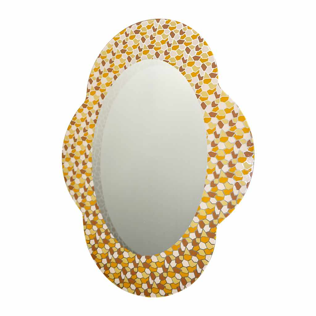 2000 Alessandro Mendini for Glas Italia Postmodern Orange Yellow Brown Mirror - Cosulich Interiors & Antiques
