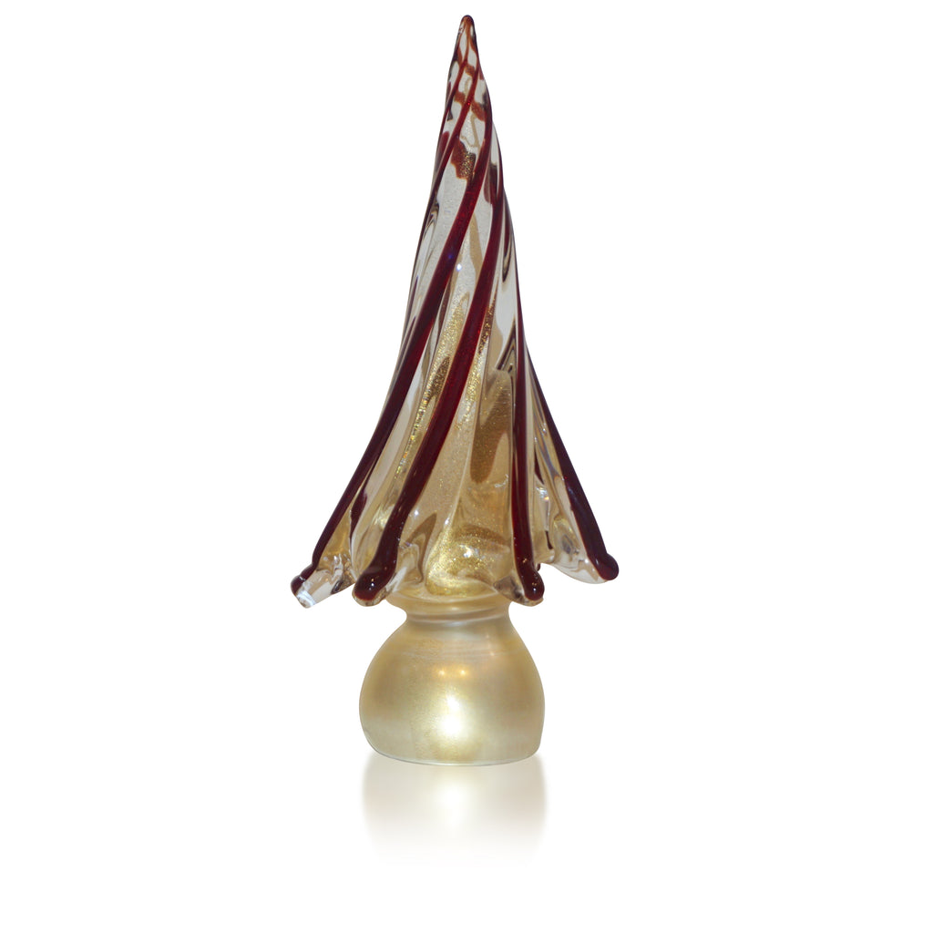 Formia Italian Vintage Wine Red Gold Murano Glass Christmas Tree Sculpture