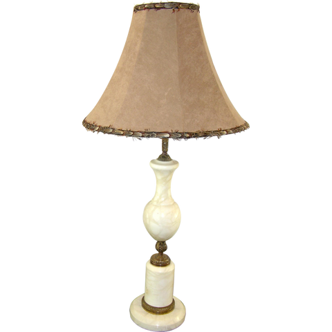 Art Deco French White Marble Lamp with Feathered Shade - Cosulich Interiors & Antiques