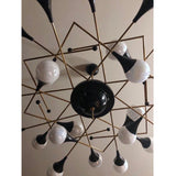 Bespoke Italian Geometric White Glass Black Lacquered Brass 24-Light Flushmount