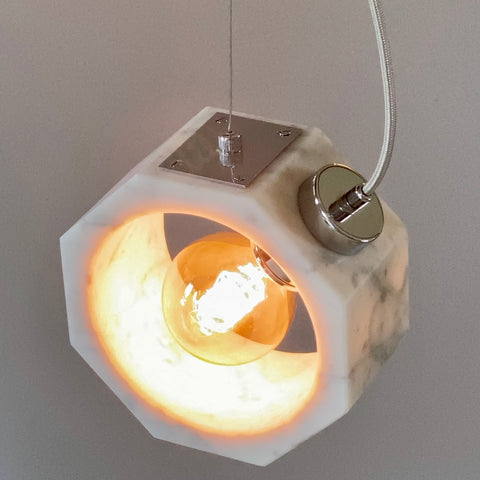 Contemporary Matlight Italian Essential Octagon Minimalist White Marble Pendant