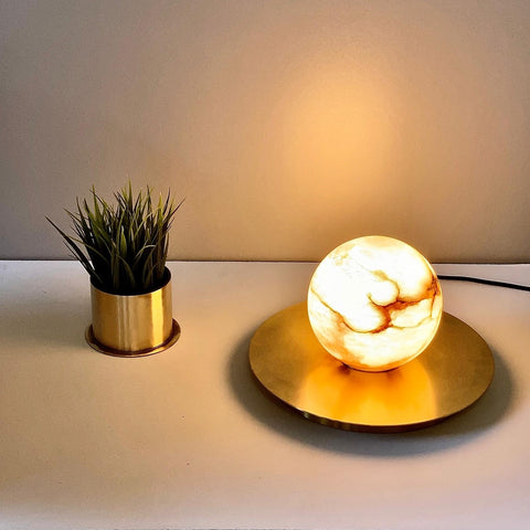 Bespoke Matlight Italian Alabaster Moon Minimalist Satin Brass Round Table Lamp