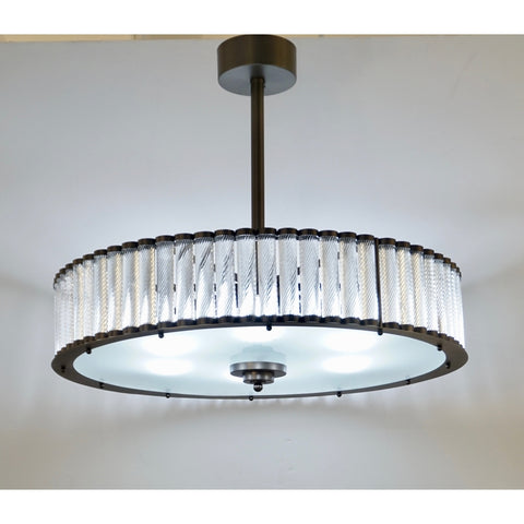 Bespoke Italian Pewter Finish Crystal Murano Glass Flush Mount / Drum Chandelier