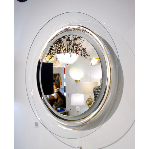 Contemporary Italian Minimalist Curved Silver & Frosted Glass Round Lit Wall Mirror