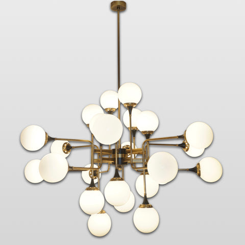 Italian Contemporary White Black & Brass 24-Light Modern Asymmetric Chandelier
