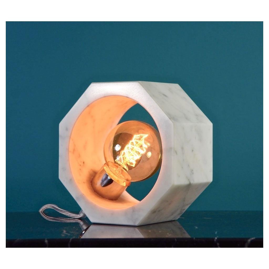 Contemporary Matlight Essential Octagon Minimalist Table Lamp in White Marble