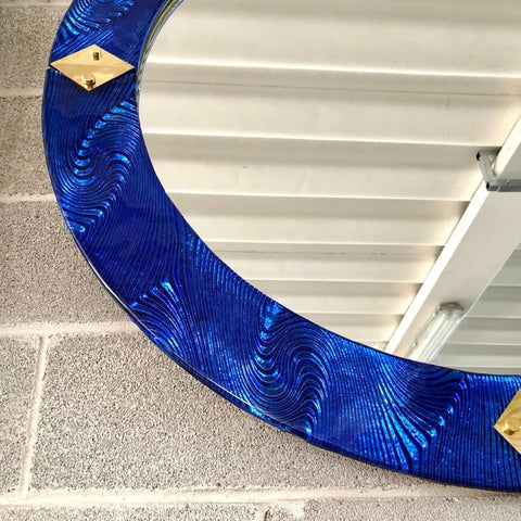 Bespoke Italian Custom Brass & Textured Cobalt Blue Murano Glass Round Mirror
