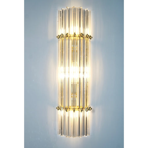 Italian Contemporary Minimalist Pair of Satin Brass Crystal Murano Glass Sconces