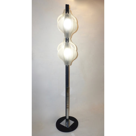 1960s Italian Pair of Minimalist White and Black Organic Chrome Floor Lamps