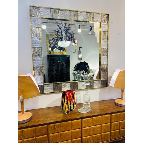 Bespoke Italian Square Silver Leaf Smoked Crystal Murano Glass Brass Tile Mirror