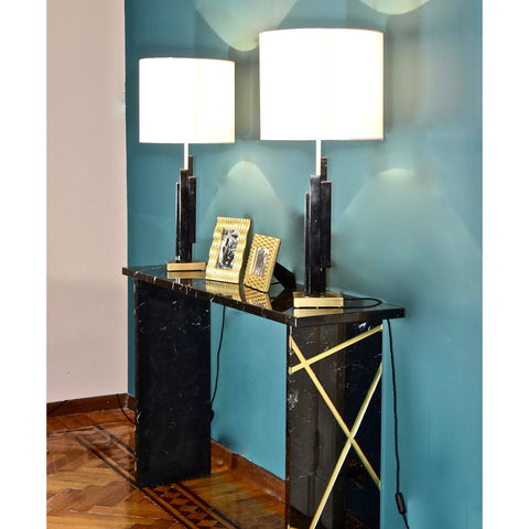 Bespoke Art Deco Design Skyline Pair of Black Marble and Satin Brass Table Lamp