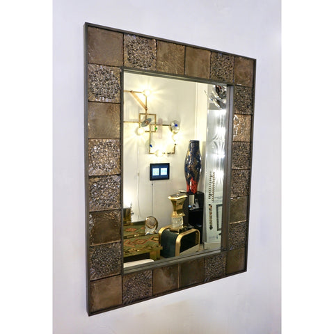 Bespoke Italian Smoked Amber Mirrored Murano Glass Geometric Bronze Tile Mirror