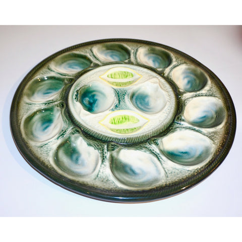 St Clement French Art Deco Majolica Set of 6 Oyster Plates and Serving Platter