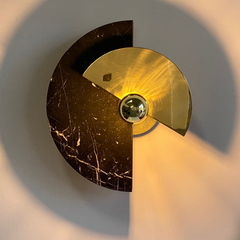 Bespoke Matlight Art Deco Style Half Moon Rotating Brass Sconce in Black Marble