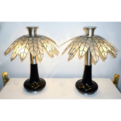 1975 Banci Italian Art Deco Pair of Mother of Pearl & Black Ebonized Palm Lamps