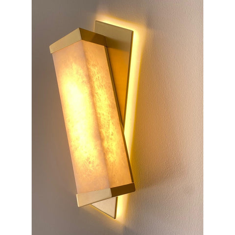 Bespoke Italian Minimalist Geometric Offset Alabaster & Light Bronze Wall Light