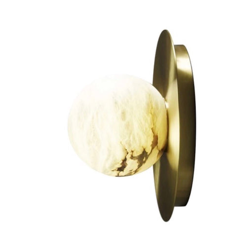 Bespoke Matlight Italian Alabaster Moon Minimalist Satin Brass Round Wall Light