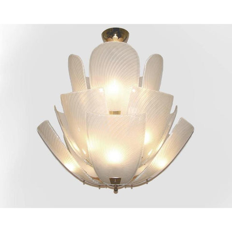 Bespoke Italian Art Nouveau Organic Design White Murano Glass Lotus Chandelier