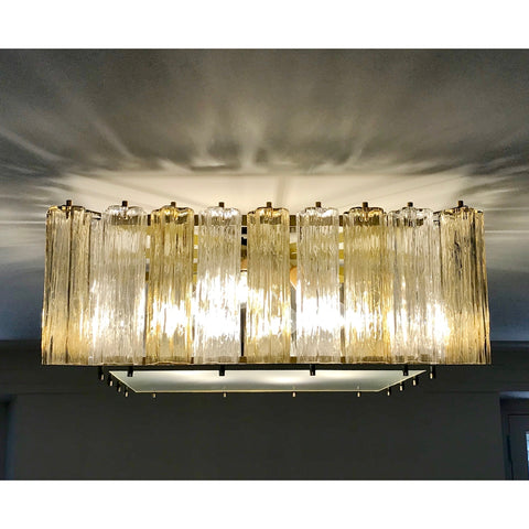 Contemporary Square Italian Crystal Amber Murano Glass Flush Chandelier/Pendant