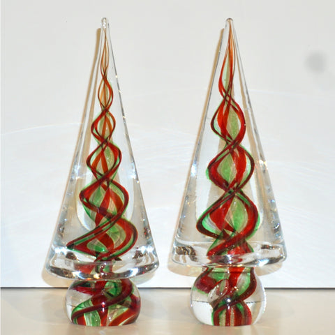 Cenedese 1980s Italian Modern Green Red Crystal Murano Glass Tree Sculpture