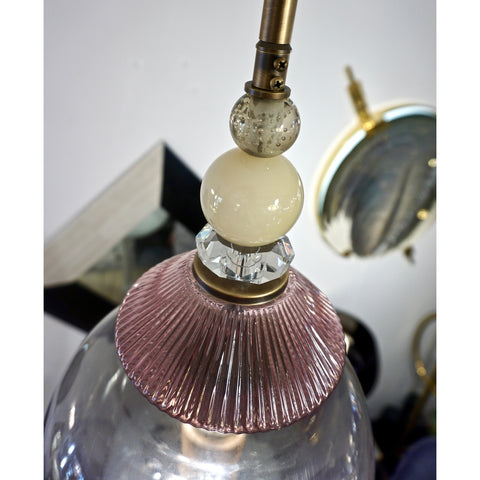 Custom Italian Purple Crystal Gold and Gray Smoked Murano Glass Pendant Light
