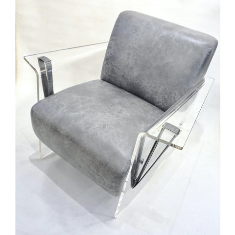 Bespoke Modernist Lucite Acrylic Lounge Armchair in Motley Gray Faux Leather