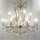 1940s Italian Antique Baroque Revival Crystal 12-Light Gilded Chandelier