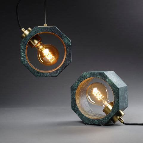 Contemporary Matlight Essential Octagon Minimalist Table Lamp in Green Marble