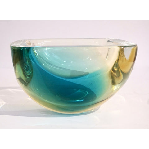 Venini 1970s Italian Square Golden Yellow and Acqua Green Murano Glass Bowl