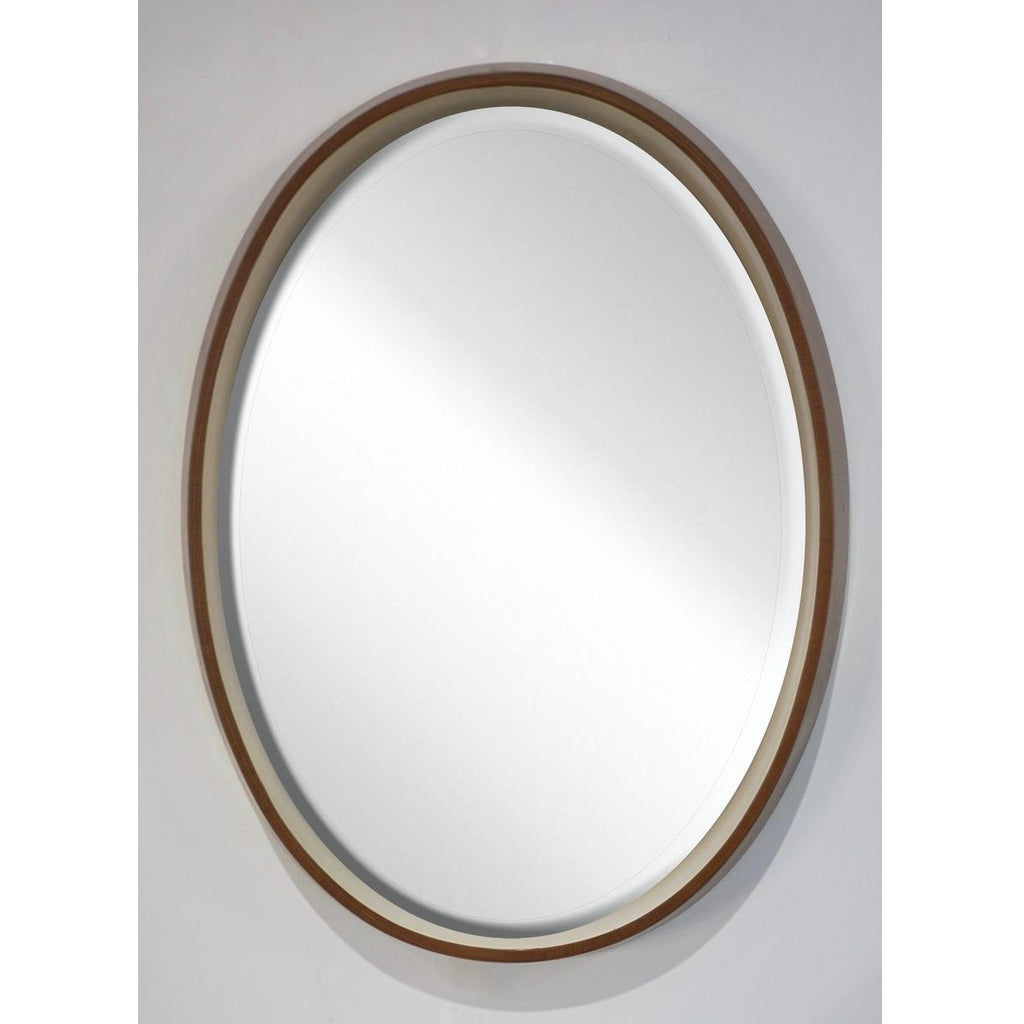 1970s Italian Vintage White Framed Cherry Wood Back Lit Oval Wall Mirror