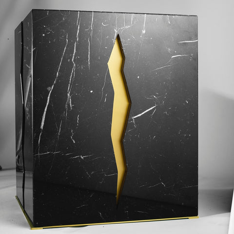 Bespoke Atelier Terrai Italian Nero Marquina Coffee Table & Satin Brass Insert