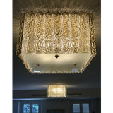 Contemporary Art Deco Style Italian Gold Amber Crystal Murano Glass Flush Chandelier