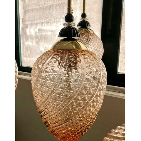 Bespoke Italian Oval Black and Pink Crystal Murano Glass Brass Egg Pendant Light