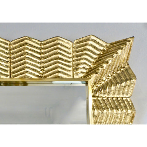 Bespoke Italian Art Deco Design Ruffled Gold Murano Glass Brass Mirror