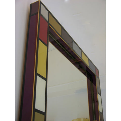 Bespoke Italian Mondrian Decor Red Yellow Gray Taupe Black White Glass Wall Mirror