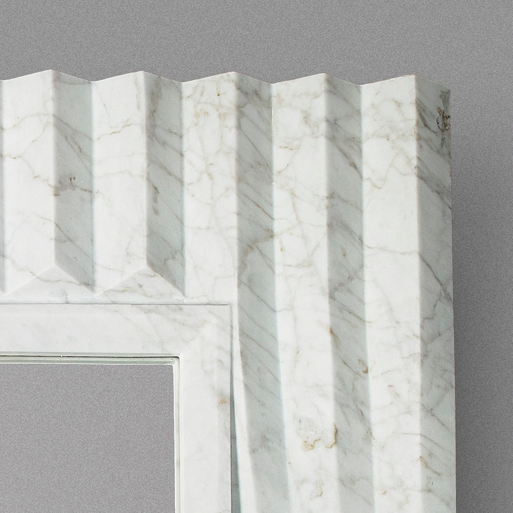 Contemporary Atelier Terrai Italian White Carrara Marble Art Deco Design Mirror