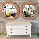 Bespoke Italian Custom Brass and Textured Pink Murano Glass Modern Round Mirror