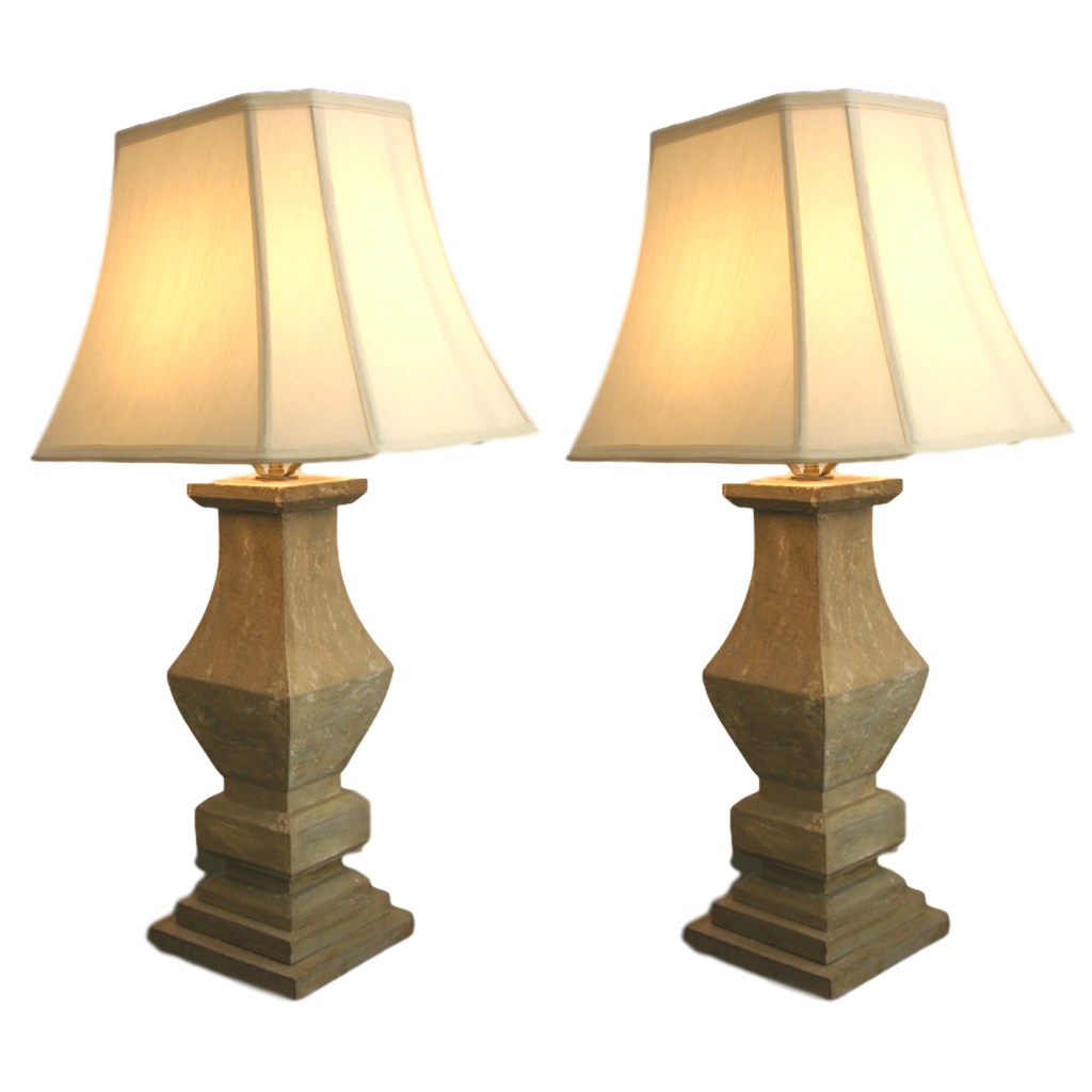 1920s French Shabby Chic Pair of Baluster Wooden Lamps - Cosulich Interiors & Antiques