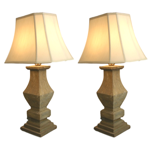 1920s French Shabby Chic Pair of Baluster Wooden Lamps
