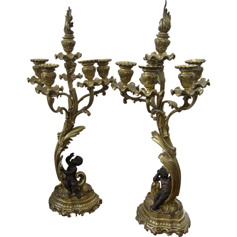 1870s Antique French Pair of Napoleon III Bronze and Ormolu Candelabra - Cosulich Interiors & Antiques